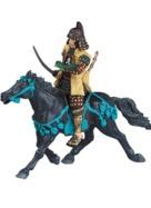 Cheval noir harnachement bleu sans cavalier