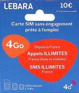 Carte SIM Lebara Sans Engagement 10€