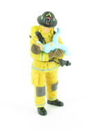 Pompier US jaune avec un enfant